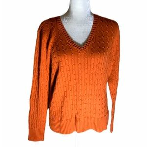 Jeanne Pierre cable knit v neck Sweater